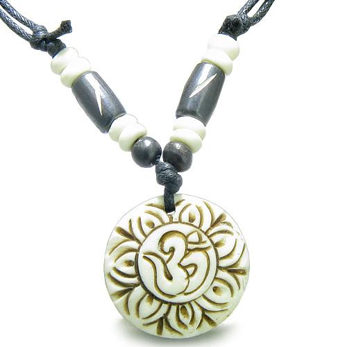 Amulet Original Tibetan Magic OM Symbol Lotus Flower Carved White Lucky Charm Pendant Necklace