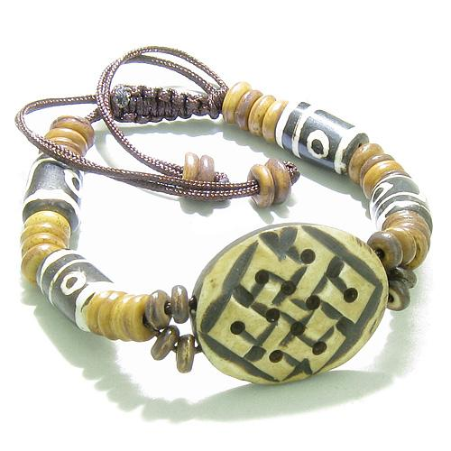 Amulet Original Tibetan Endless Protection Celtic Knot Natural Carved Bone Lucky Charm Bracelet