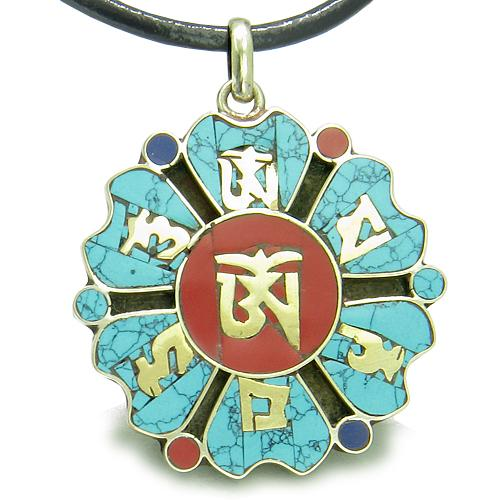 Amulet Tibetan Mantra Ancient Om Mani Padme Hum Turquoise Medallion Lotus Magic Pendant Necklace