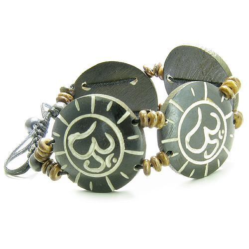 Amulet Original Tibetan OM Positive Energy Sun Magic Circles Natural Carved Lucky Charms Bracelet