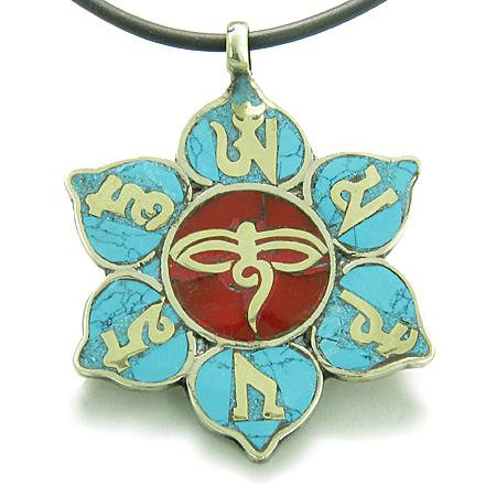 Amulet Tibetan Mantra Om Mani Padme Hum Buddha All Seeing Eye Turquoise Lotus Pendant Necklace