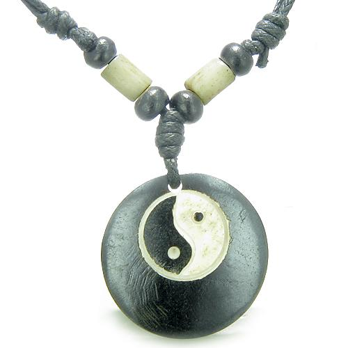 Amulet Original Tibetan Yin Yang Balance Powers Natural Bone Magic Pendant Necklace