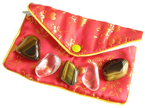 Protection From Evil Eye Pouch In Tiger Eye And Crystals