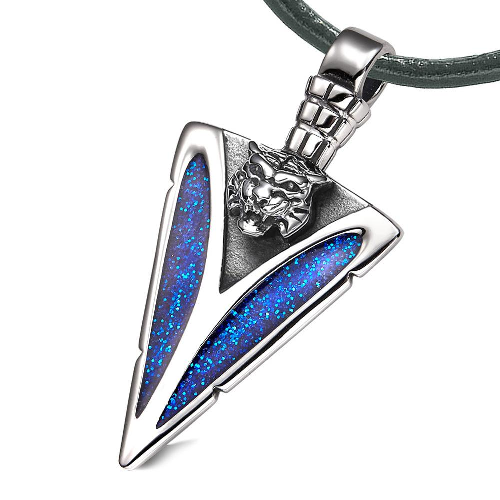 Arrowhead Wild Tiger Head Brave Powers Protection Amulet Sparkling Royal Blue Pendant Leather Necklace