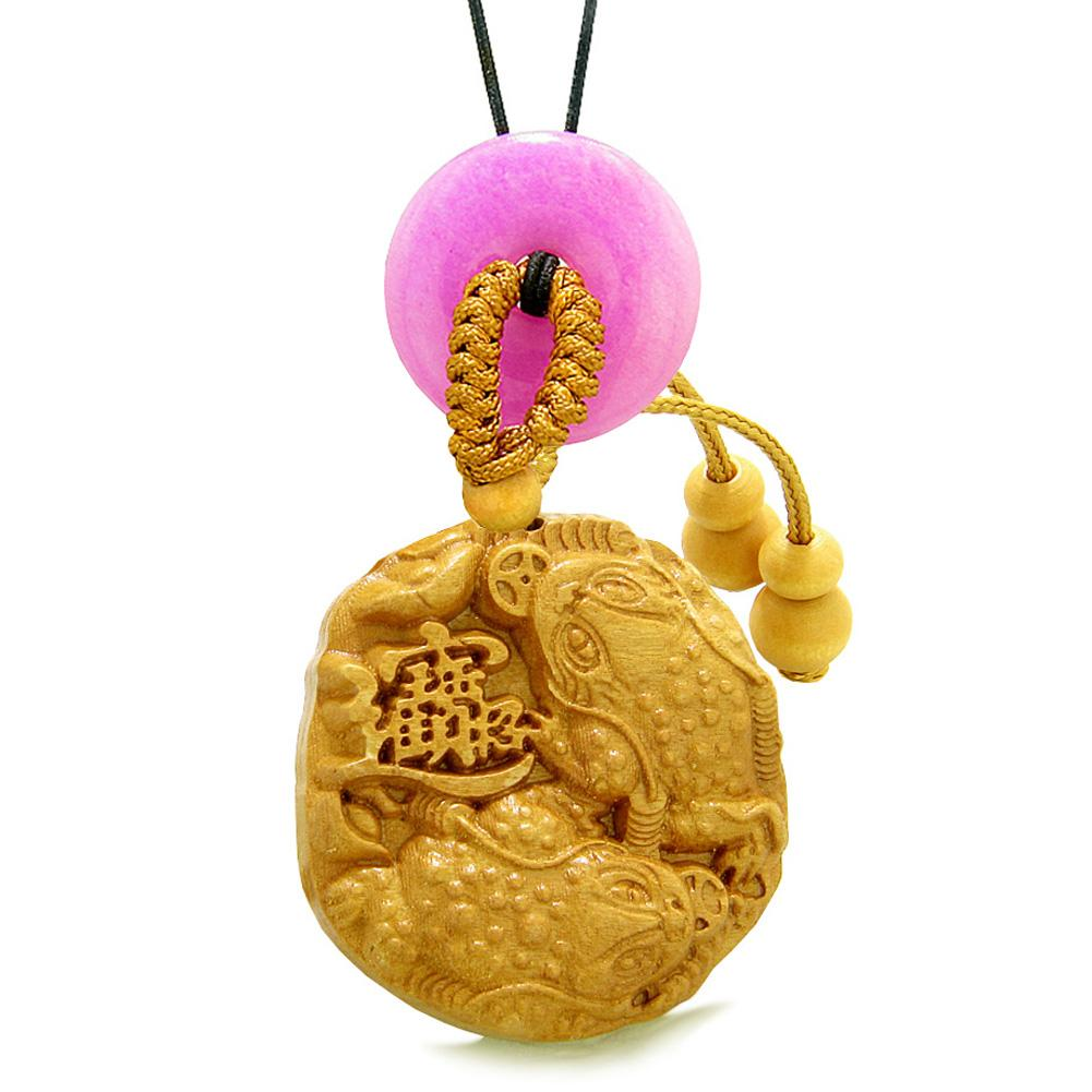 Fortune Coins Magic Todd Car Charm or Home Decor Pink Quartz Lucky Donut Protection Powers Amulet