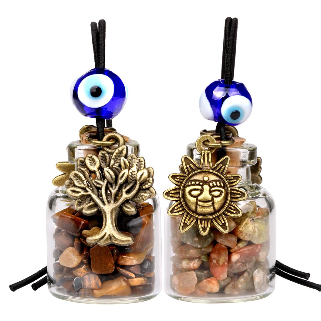 Tree of Life Magic Sun Powers Small Car Charms or Home Decor Gem Bottles Tiger Eye Unakite Amulets