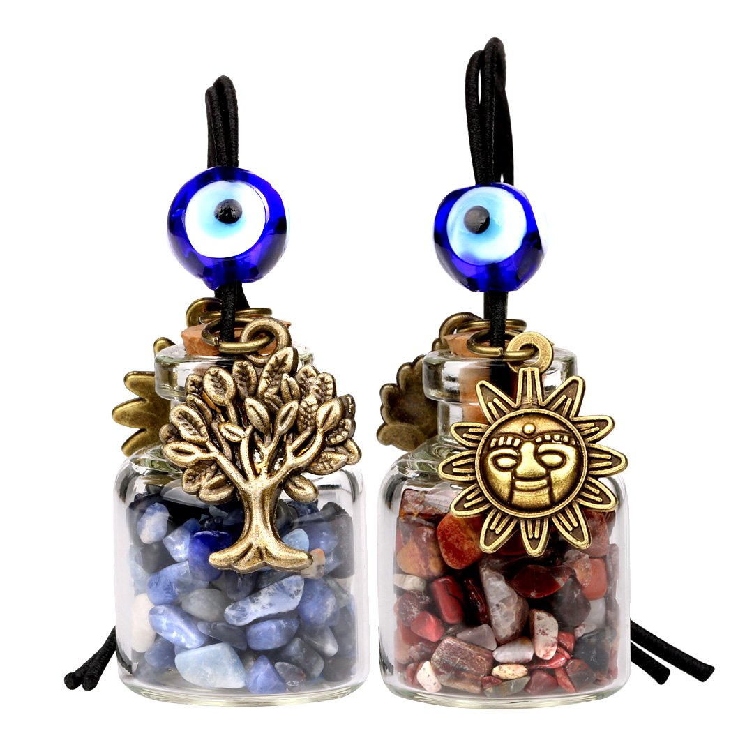 Tree of Life Magic Sun Powers Small Car Charm Home Decor Bottles Sodalite Brecciated Jasper Amulets