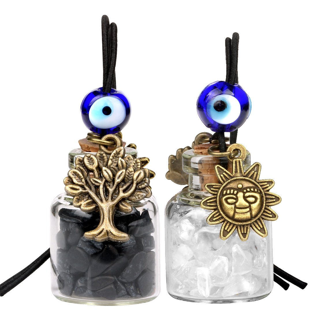 Tree of Life Magic Sun Powers Small Car Charms or Home Decor Bottles Quartz Black Obsidian Amulets