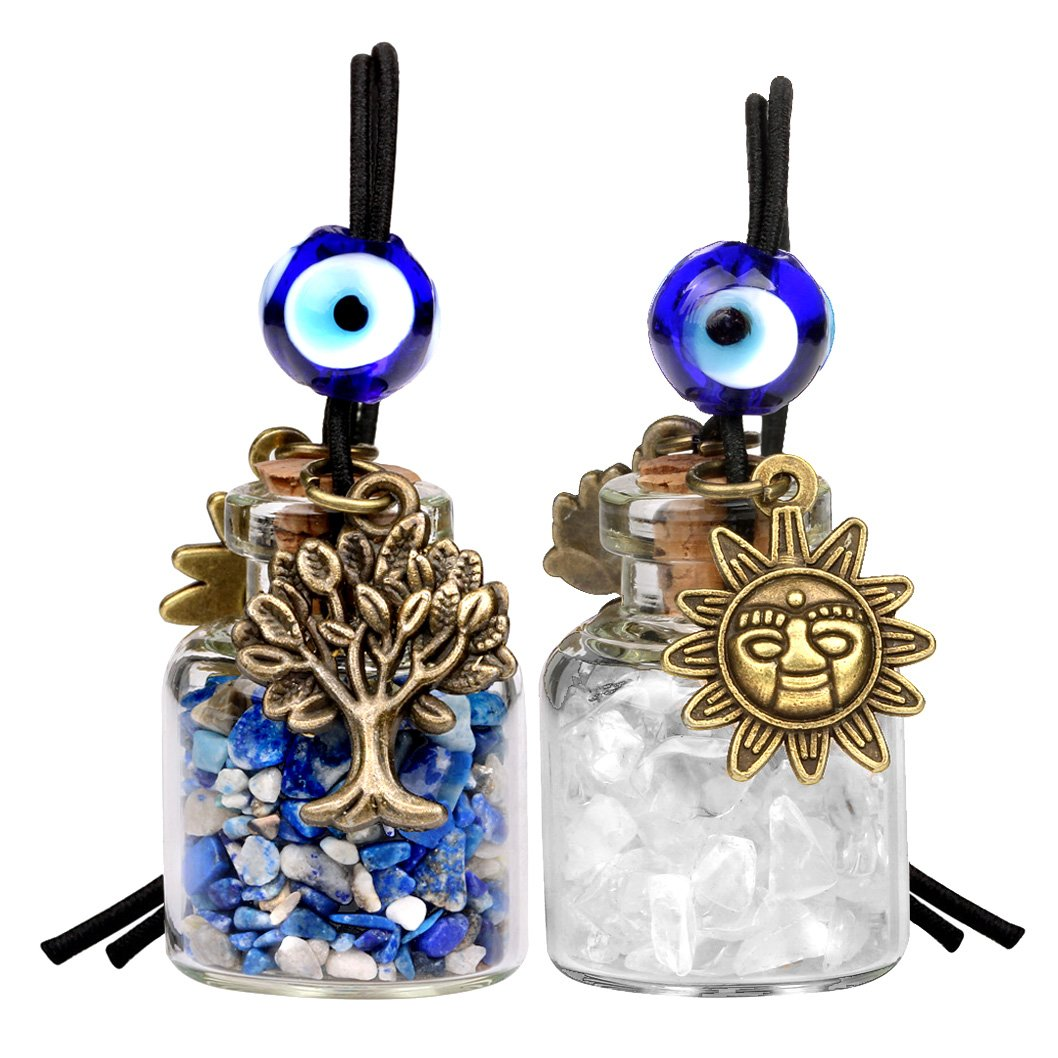 Tree of Life Magic Sun Powers Small Car Charms or Home Decor Bottles Quartz Lapis Lazuli Amulets