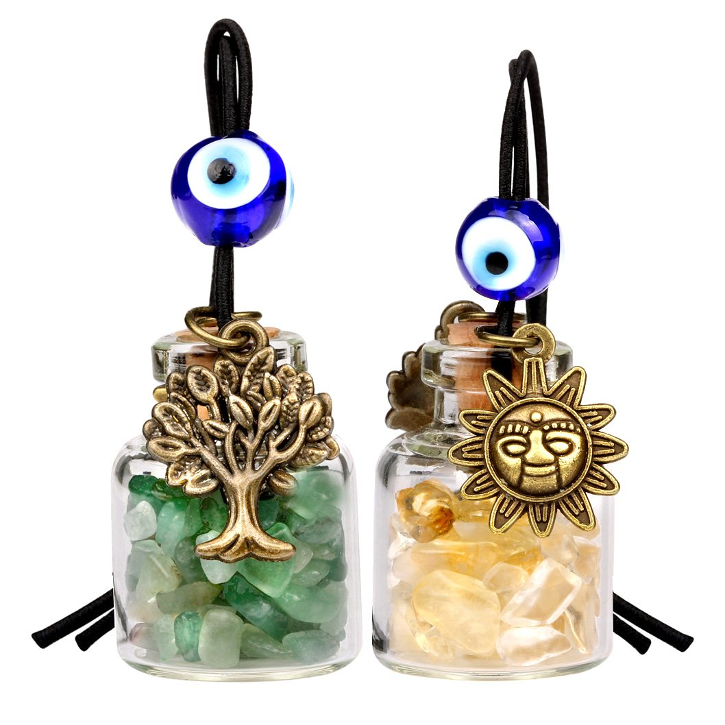 Tree of Life Magic Sun Powers Small Car Charms or Home Decor Bottles Green Quartz Citrine Amulets