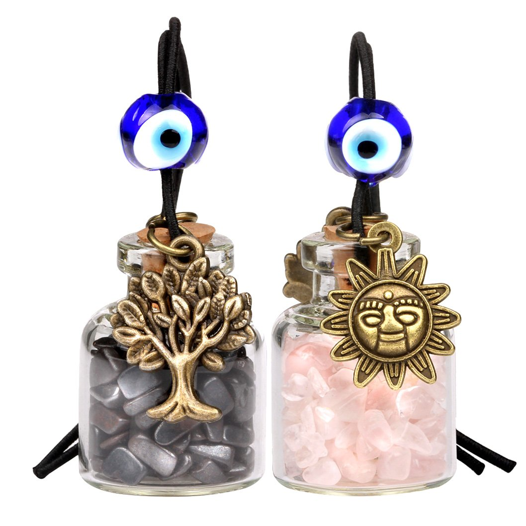 Tree of Life Magic Sun Powers Small Car Charms or Home Decor Bottles Hematite Rose Quartz Amulets