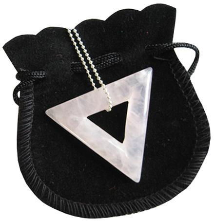 Love Talisman Triangle Donut In Rose Quartz With Chain
