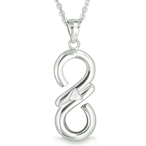 Infinity Mystic Triangle Cosmic Magic Symbol White Cats Eye Spiritual Energies Pendant Necklace