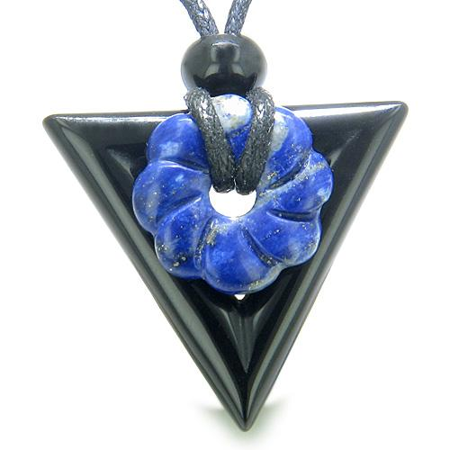 Double Lucky Magic Amulet Triangle Donut Onyx Lapis Lazuli Flower Spiritual Good Luck Necklace