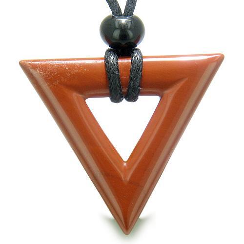 Amulet Triangle Magic Protection Powers Lucky Charm Red Jasper Arrowhead Believe Pendant Necklace