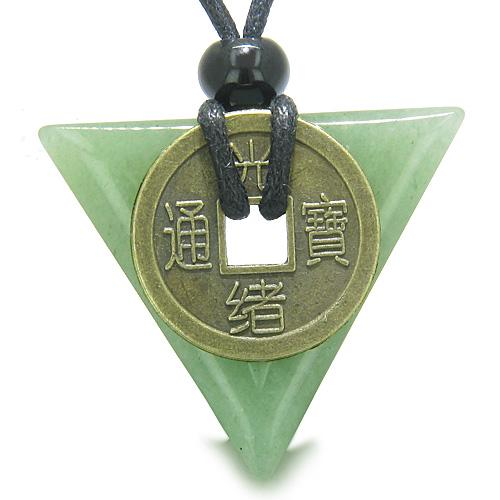 Amulet Triangle Protection Powers Antique Lucky Coin Charm Aventurine Arrowhead Pendant Necklace