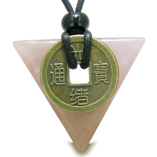 Amulet Triangle Protection Powers Antique Lucky Coin Charm Rose Quartz Arrowhead Pendant Necklace