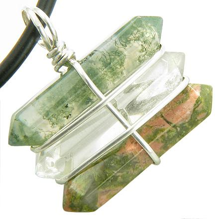 Life Power Silver Triple Lucky Amulet Crystal Point Wands Green Moss Agate Quartz Unakite Necklace
