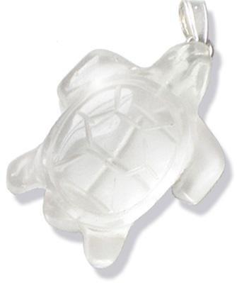 Crystal Quartz Evil Eye Protection Turtle Pendant