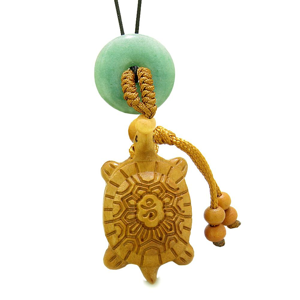 Good Luck Turtle Cute Car Charm or Home Decor Green Quartz Lucky Coin Donut Protection Powers Amulet
