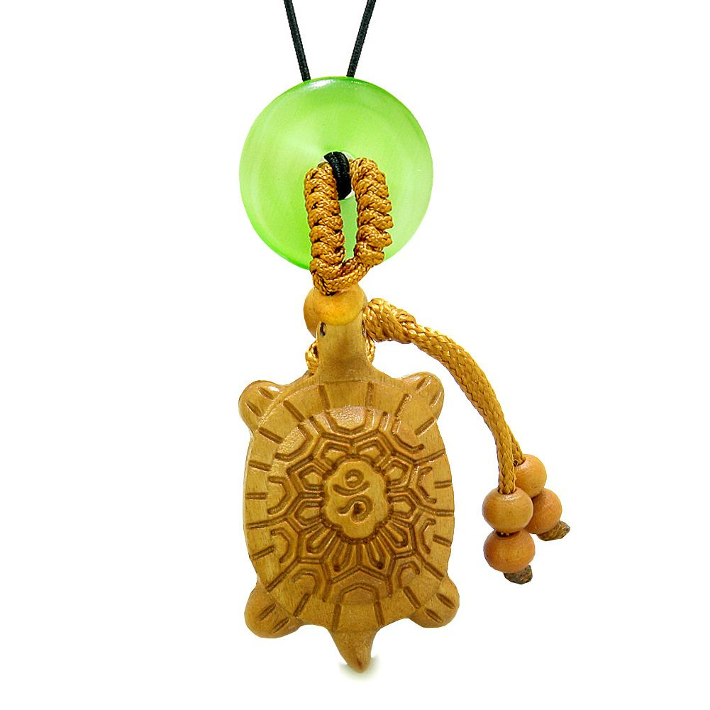 Good Luck Turtle Cute Car Charm or Home Decor Green Simulated Cats Eye Lucky Coin Donut Protection Amulet