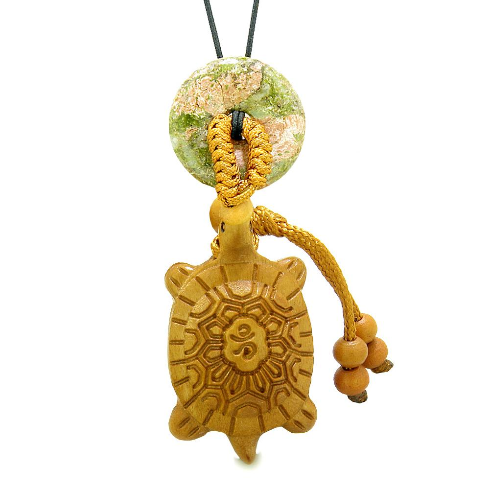 Good Luck Turtle Cute Car Charm or Home Decor Unakite Lucky Coin Donut Protection Powers Magic Amulet