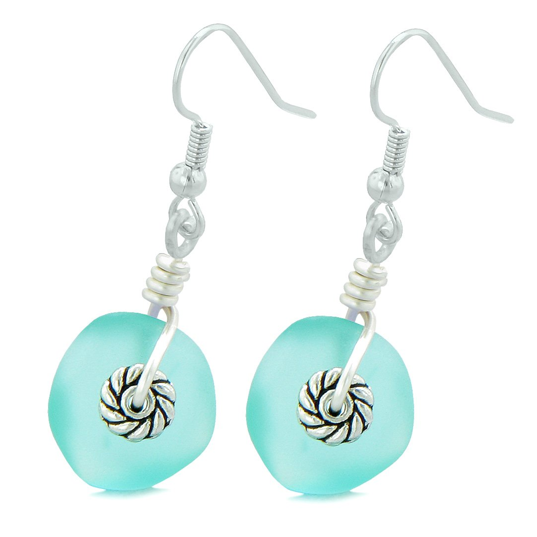 Twisted Twincies Cute Frosted Sea Glass Good Luck Charms Aqua Blue Amulet Earrings