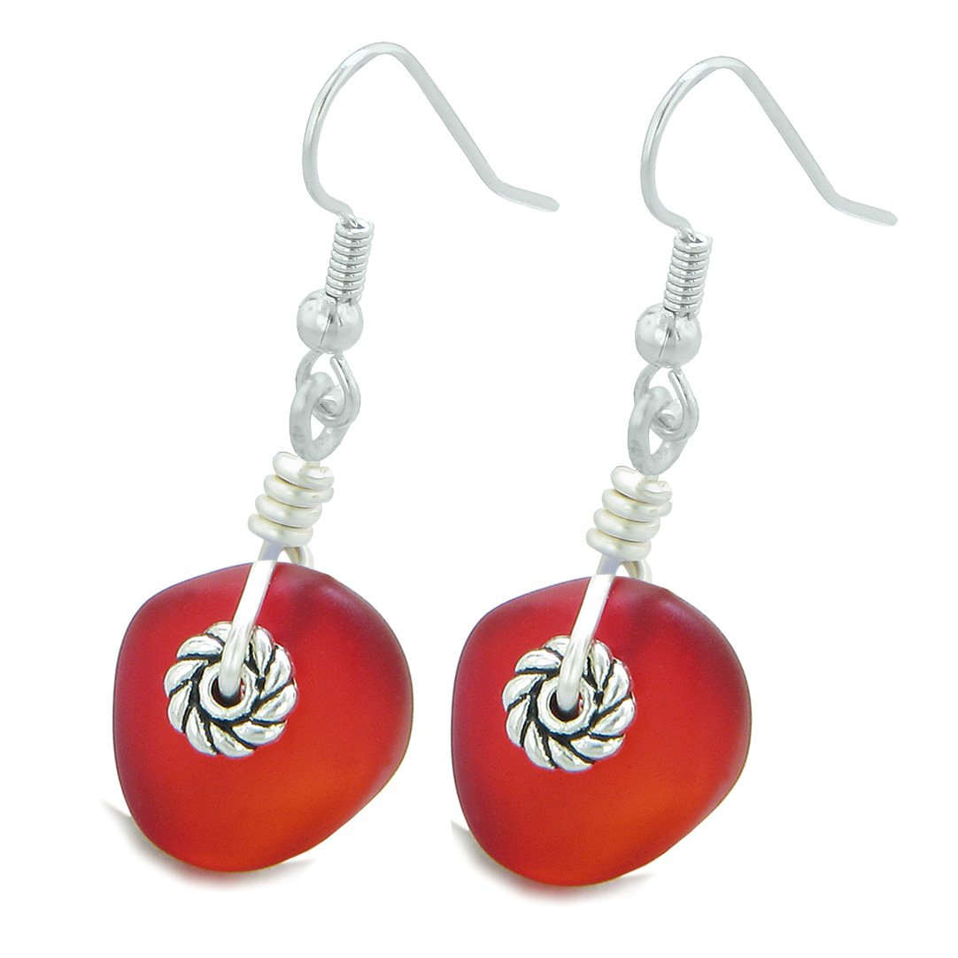 Twisted Twincies Cute Frosted Sea Glass Good Luck Charms Royal Red Amulet Earrings