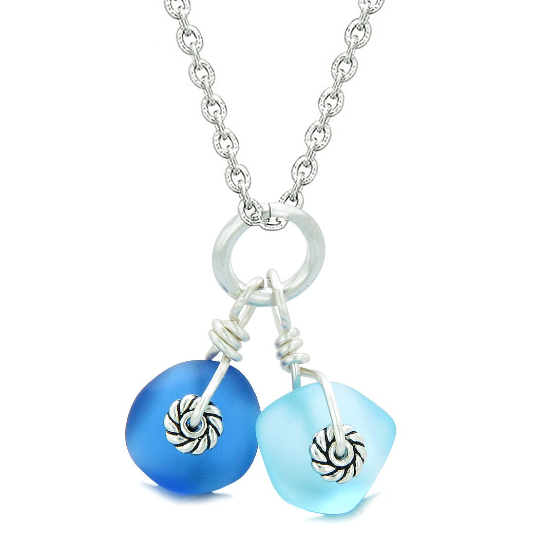 Twisted Twincies Cute Frosted Sea Glass Lucky Charms Sky and Ocean Blue Amulets 18 Inch Necklace