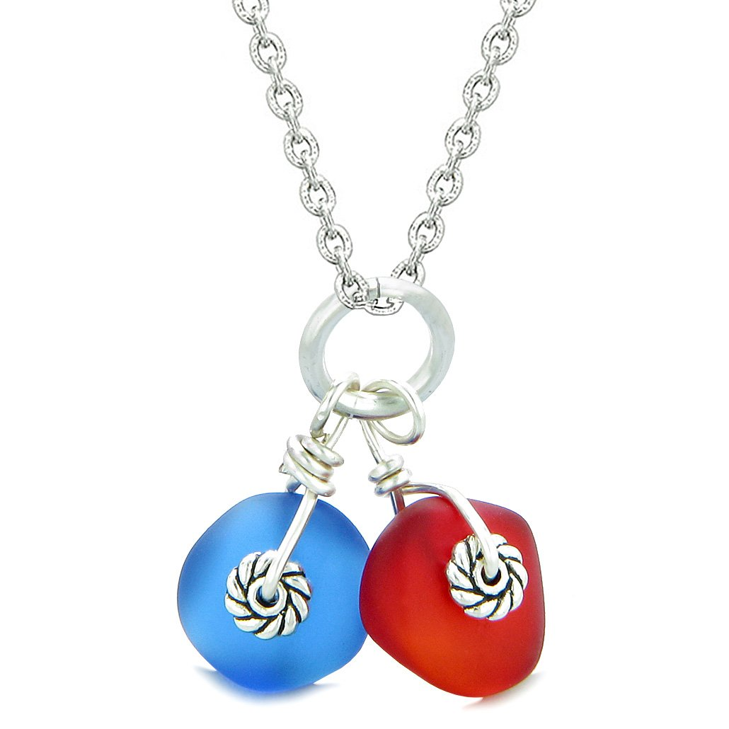 Twisted Twincies Cute Frosted Sea Glass Lucky Charms Royal Red Ocean Blue Amulets 18 Inch Necklace