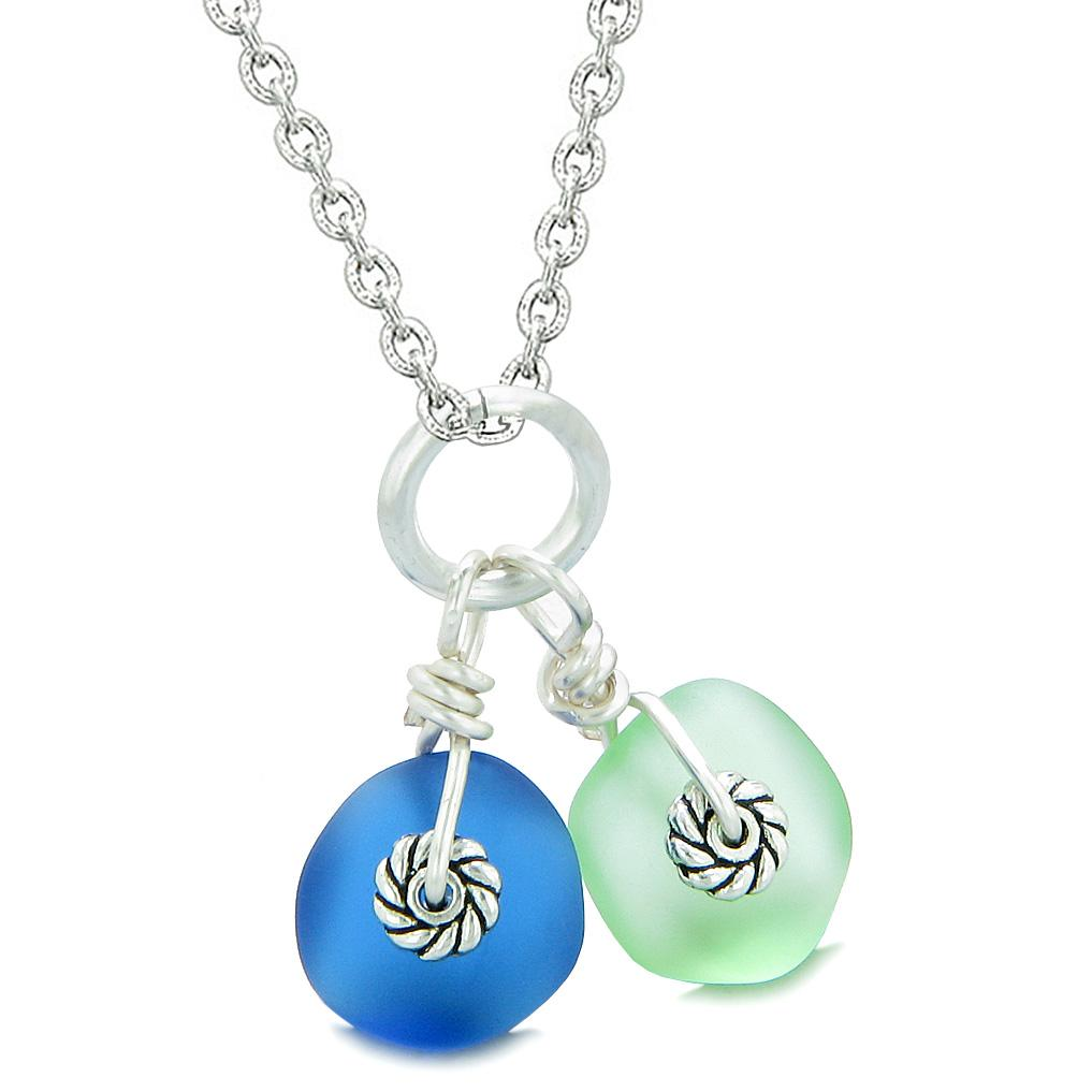 Twisted Twincies Cute Frosted Sea Glass Lucky Charms Mint Green Ocean Blue Amulets 18 Inch Necklace