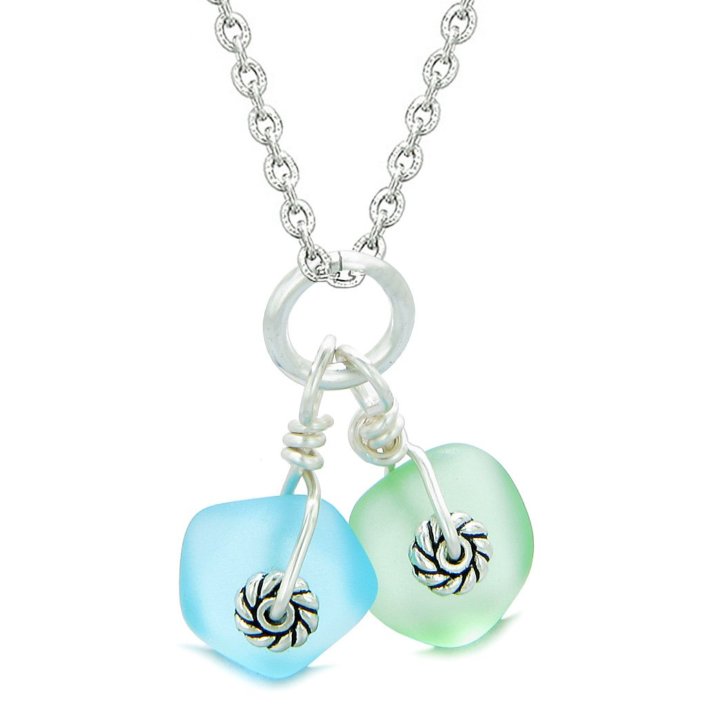 Twisted Twincies Cute Frosted Sea Glass Lucky Charms Sky Blue Mint Green Amulets 22 Inch Necklace