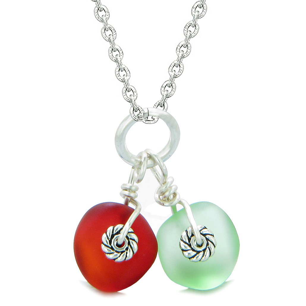 Twisted Twincies Cute Frosted Sea Glass Lucky Charms Mint Green Royal Red Amulets 18 Inch Necklace