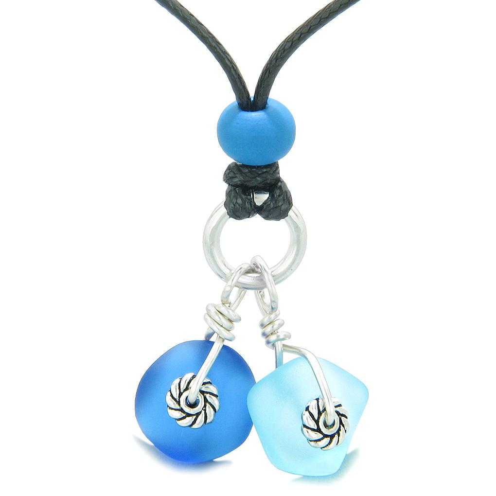Twisted Twincies Cute Frosted Sea Glass Lucky Charms Sky and Ocean Blue Amulets Adjustable Necklace
