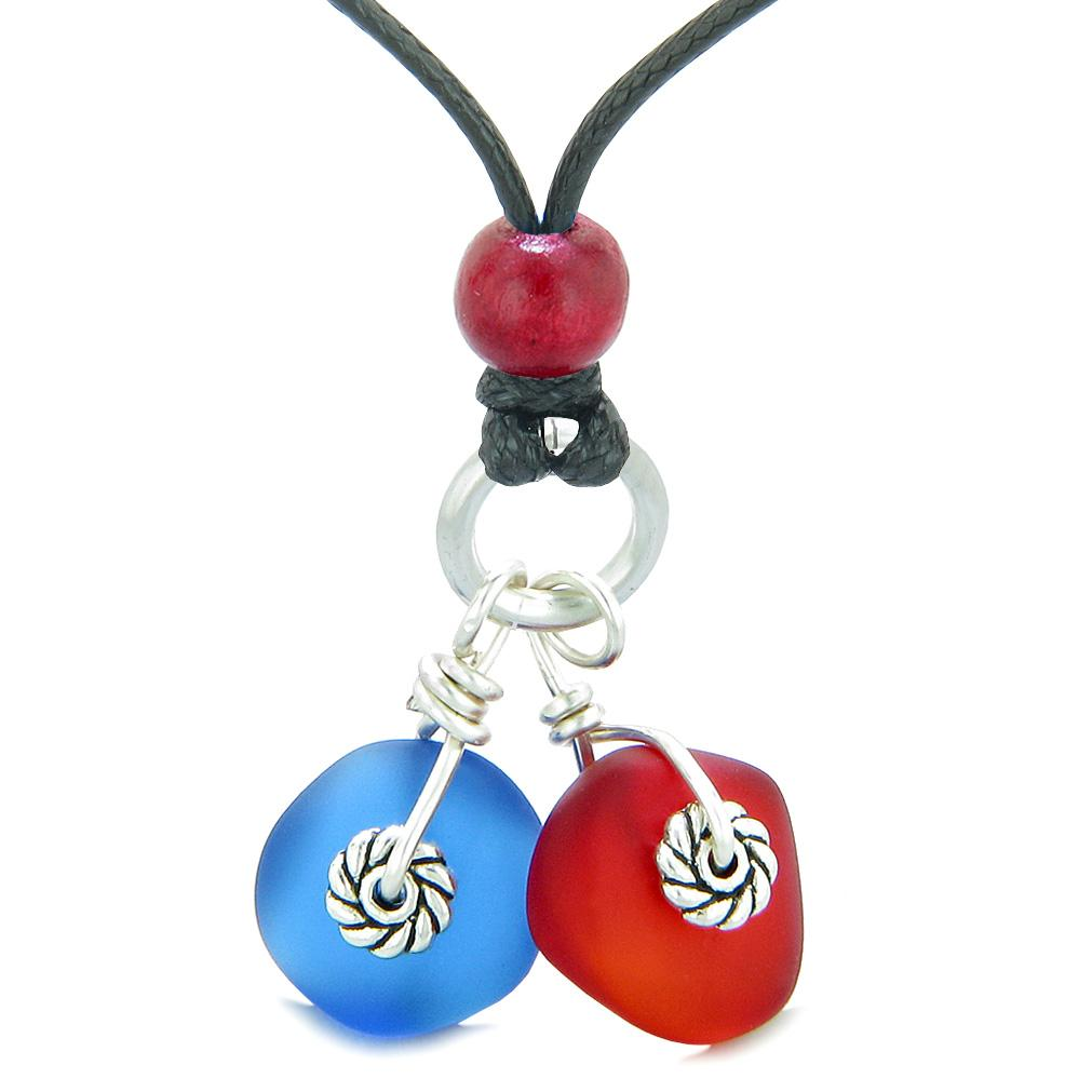 Twisted Twincies Cute Frosted Sea Glass Lucky Charms Royal Red Ocean Blue Amulets Adjustable Necklace