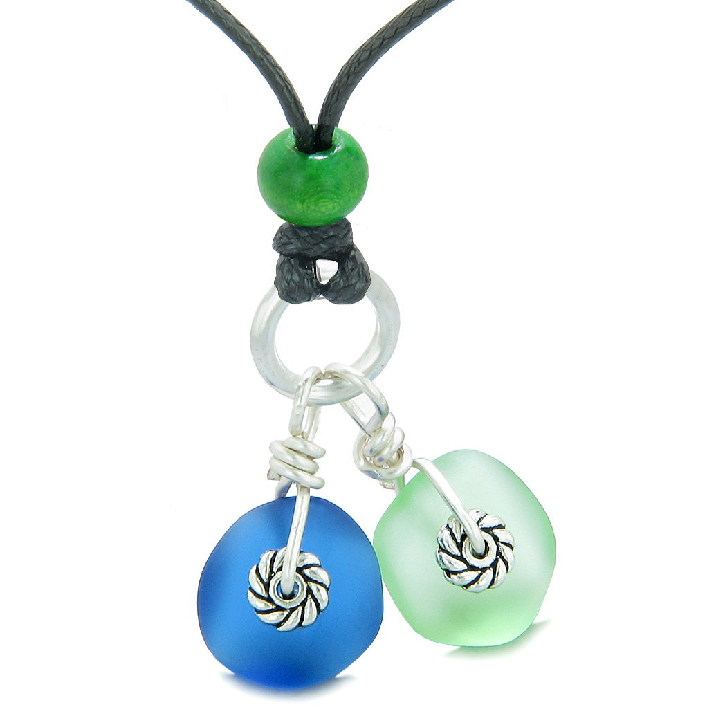 Twisted Twincies Cute Frosted Sea Glass Lucky Charms Mint Green Ocean Blue Amulets Adjustable Necklace