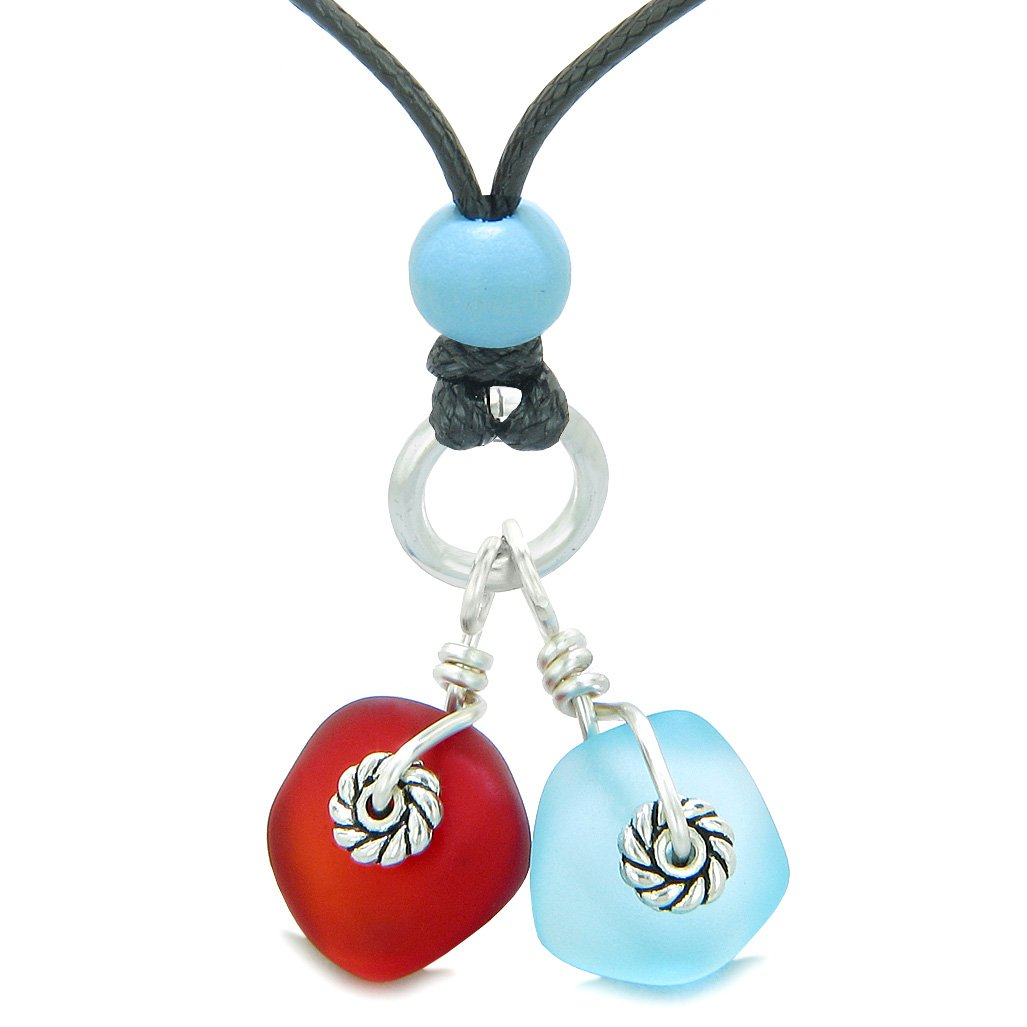 Twisted Twincies Cute Frosted Sea Glass Lucky Charms Sky Blue Royal Red Amulets Adjustable Necklace