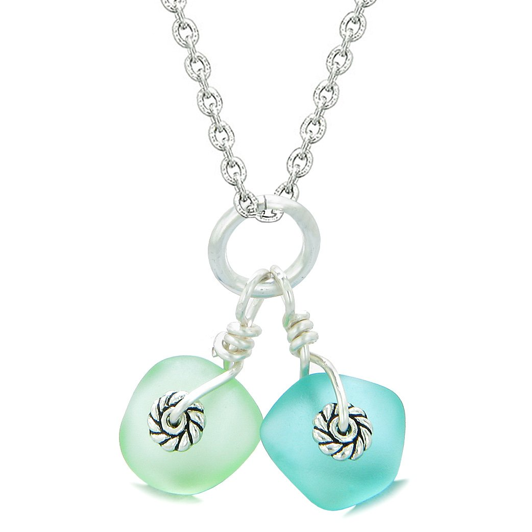 Twisted Twincies Cute Frosted Sea Glass Lucky Charms Aqua Blue Mint Green Amulets 22 Inch Necklace