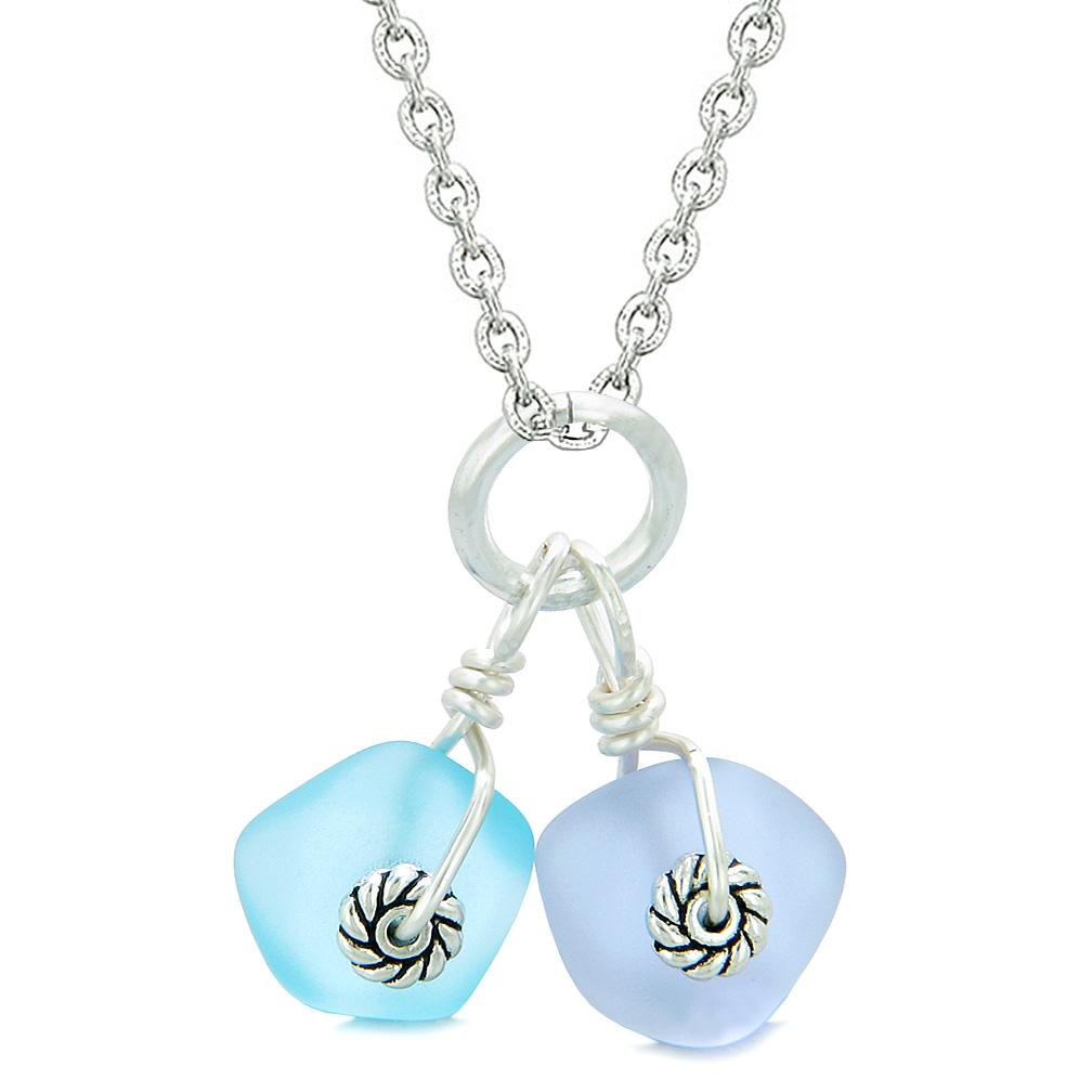 Twisted Twincies Cute Frosted Sea Glass Lucky Charms Sky Blue Pastel Purple Amulets 18 Inch Necklace