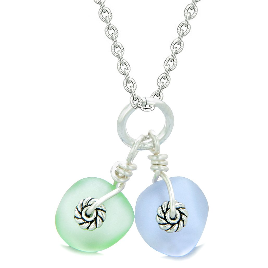 Twisted Twincies Cute Frosted Sea Glass Lucky Charms Mint Green Pastel Purple Amulets 18 Inch Necklace