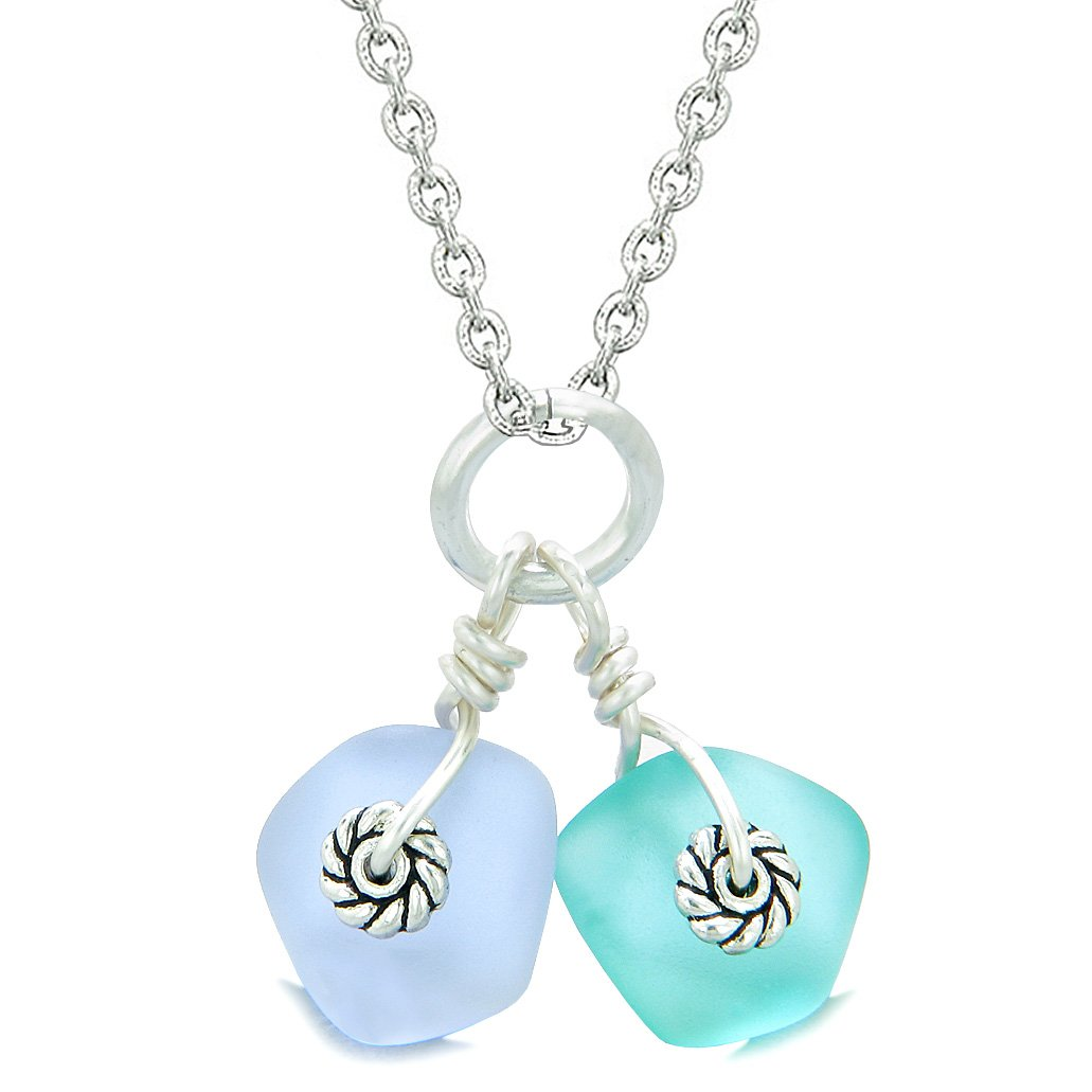 Twisted Twincies Cute Frosted Sea Glass Lucky Charms Aqua Blue Pastel Purple Amulets 18 Inch Necklace