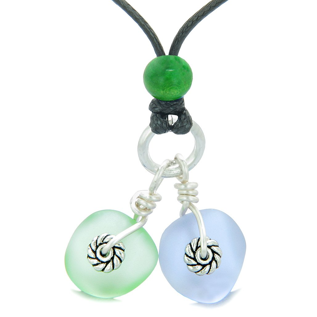 Twisted Twincies Cute Frosted Sea Glass Lucky Charms Mint Green Pastel Purple Amulets Adjustable Necklace