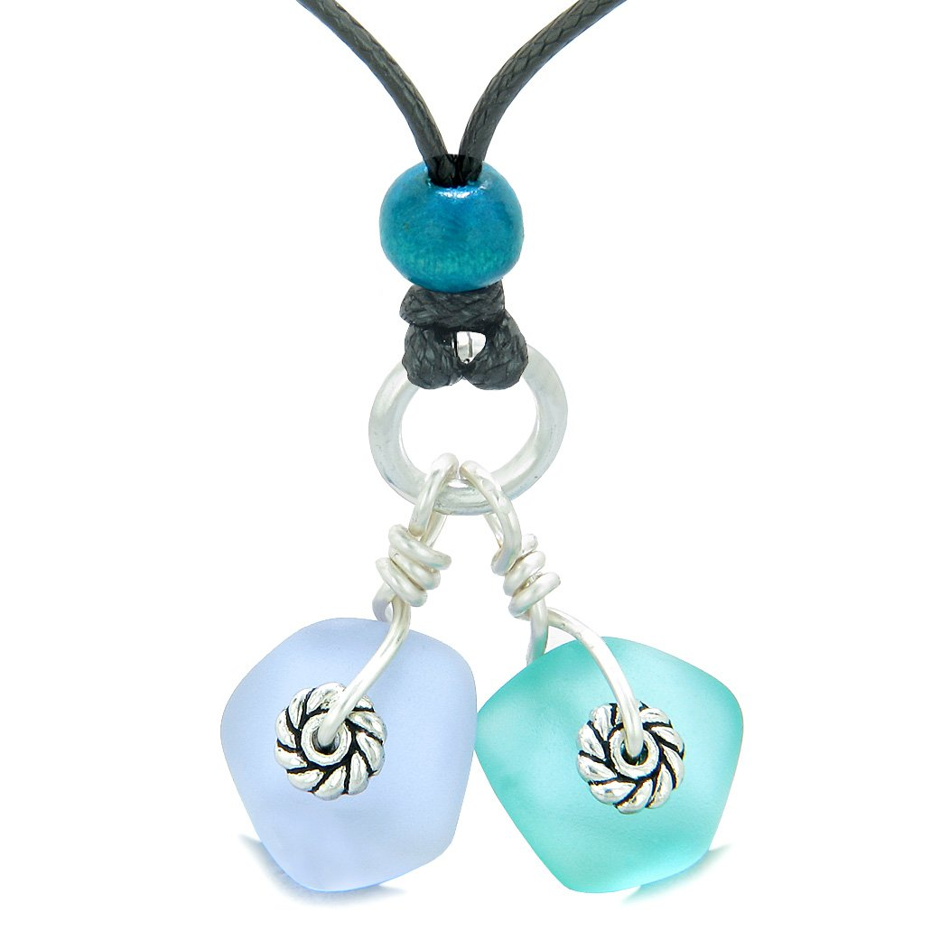 Twisted Twincies Cute Frosted Sea Glass Lucky Charms Aqua Blue Pastel Purple Amulets Adjustable Necklace