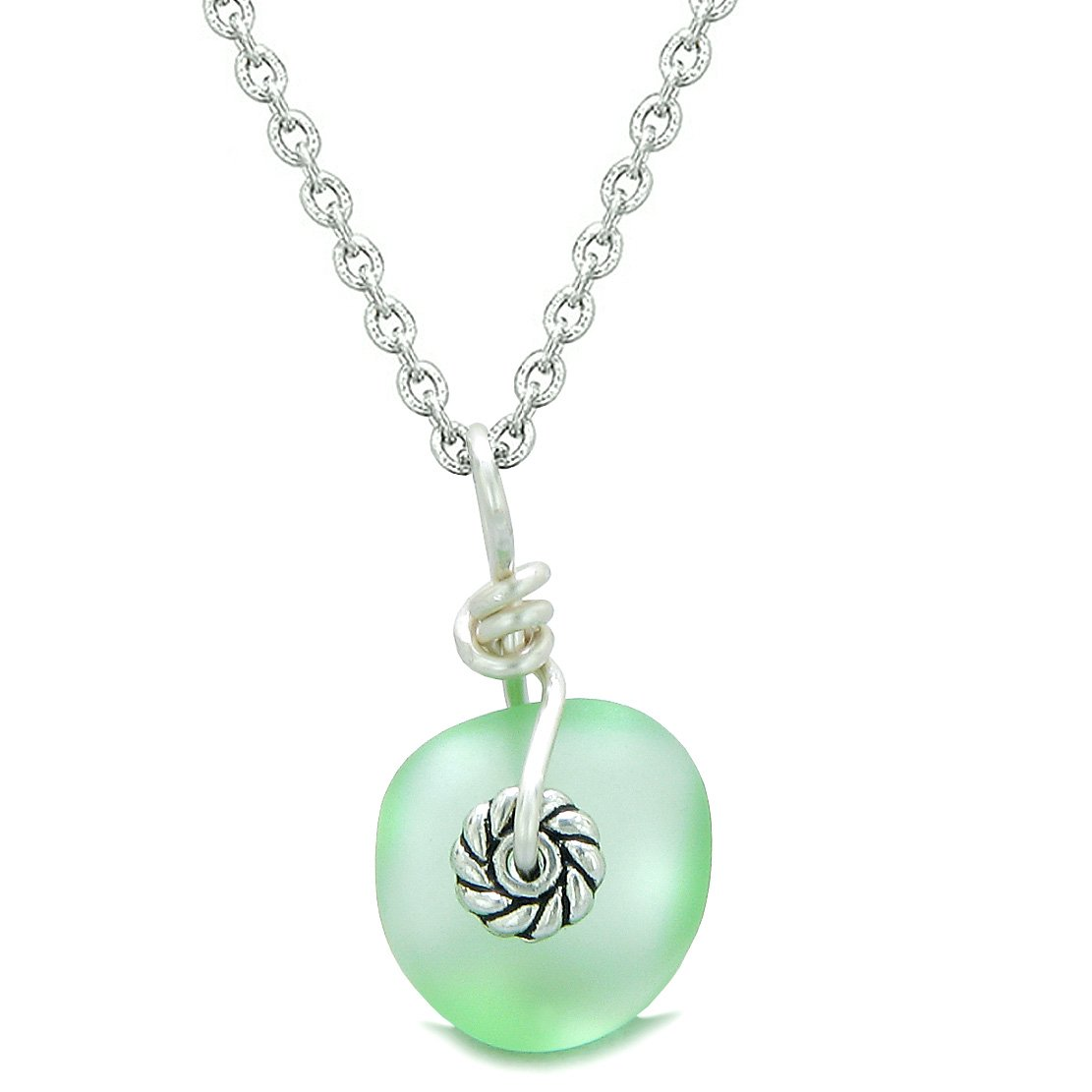 Twisted Twincies Small Cute Frosted Sea Glass Lucky Charms Handcrafted Mint Green 22 Inch Necklace