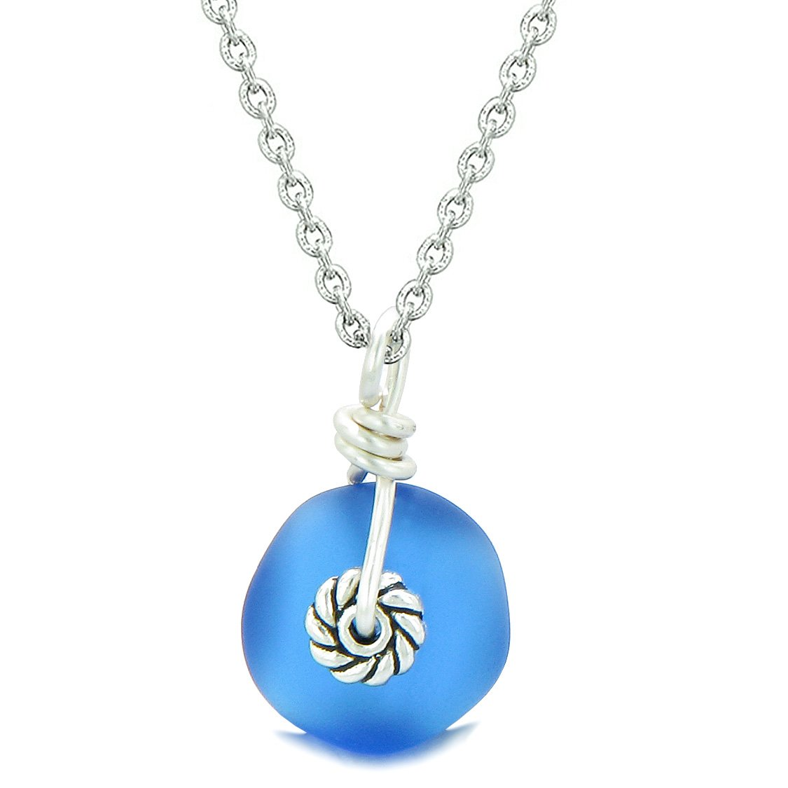 Twisted Twincies Small Cute Frosted Sea Glass Lucky Charms Handcrafted Ocean Blue 22 Inch Necklace