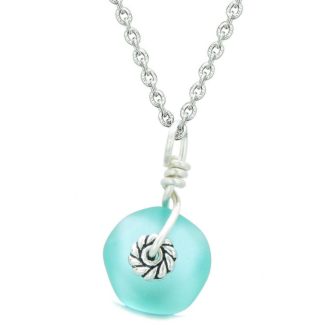 Twisted Twincies Small Cute Frosted Sea Glass Lucky Charms Handcrafted Aqua Blue 22 Inch Necklace