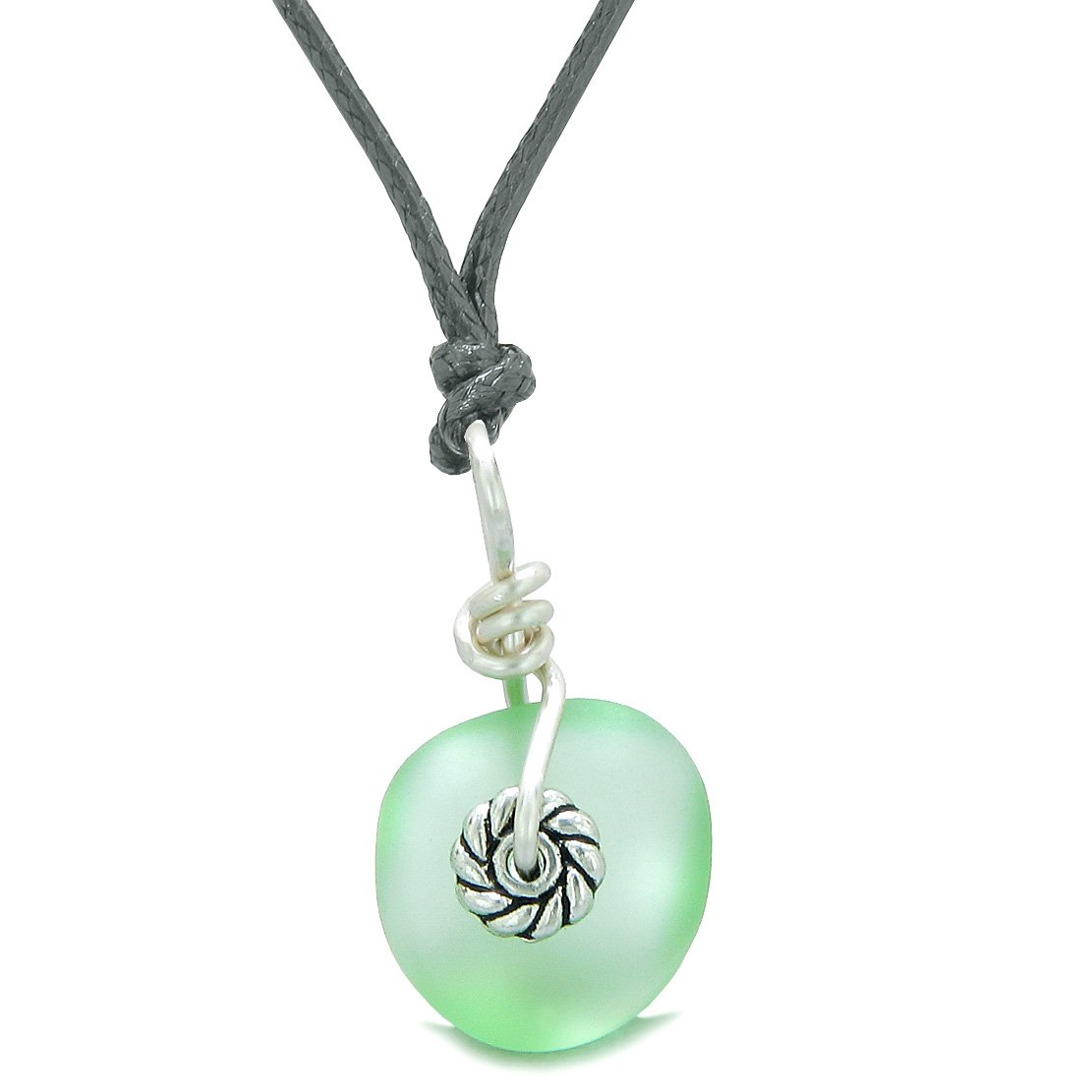 Twisted Twincies Small Cute Frosted Sea Glass Lucky Charms Handcrafted Mint Green Adjustable Necklace
