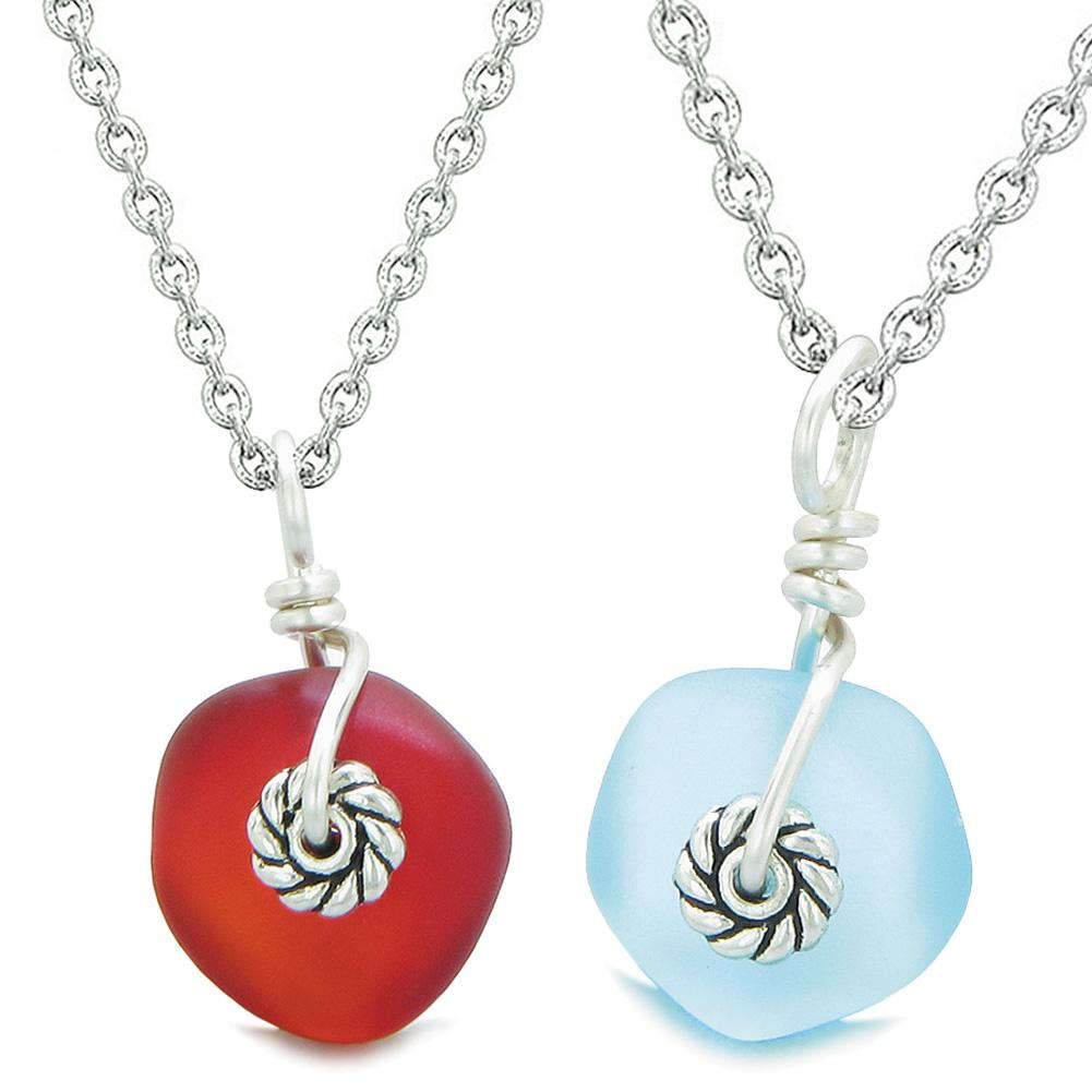 Twisted Twincies Cute Small Sea Glass Lucky Charms Love Couples BFF Set Sky Blue Red Necklaces