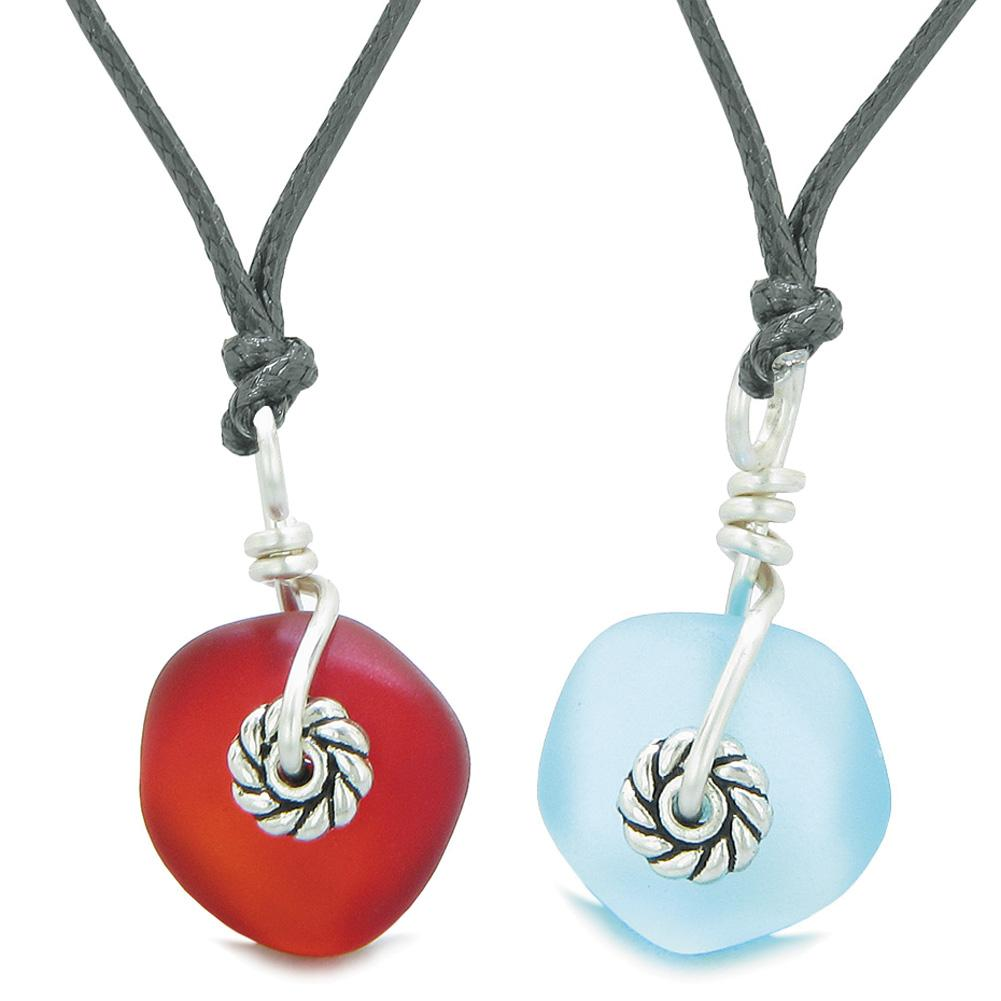 Twisted Twincies Cute Small Sea Glass Lucky Charms Love Couples BFF Set Red Sky Blue Necklaces