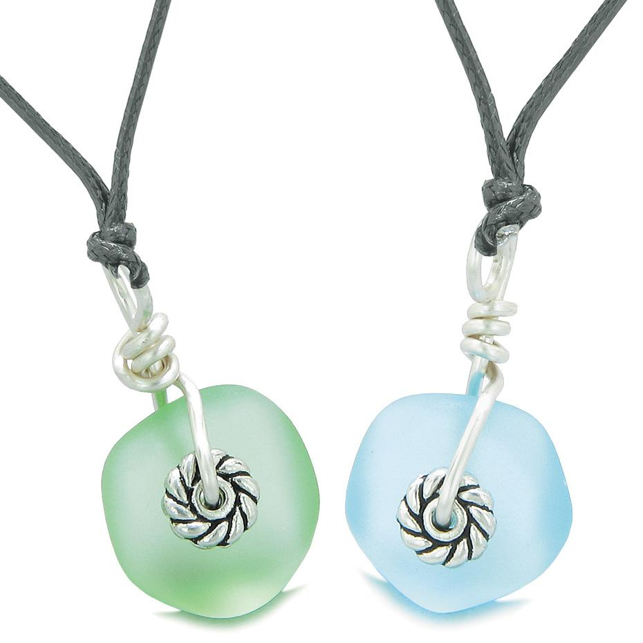 Twisted Twincies Cute Small Sea Glass Lucky Charms Love Couples BFF Set Mint Green Sky Blue Necklaces